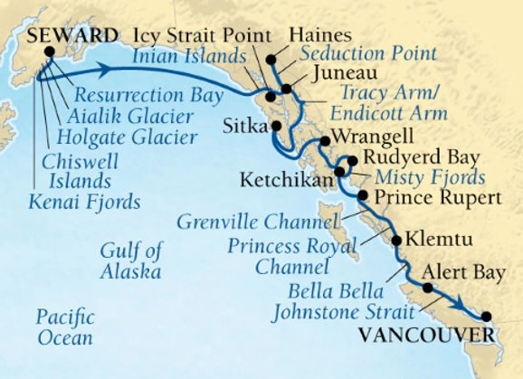 Seabourn Sojourn * Aug-31-2019 * Anchorage (Seward) to Vancouver * 14 Nights