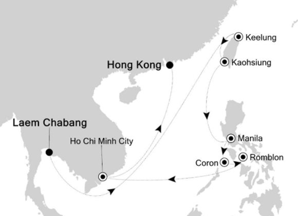 Silver Spirit * Feb 1,-2020 * Bangkok (Laem Chabang) to Hong Kong * 14 Nights