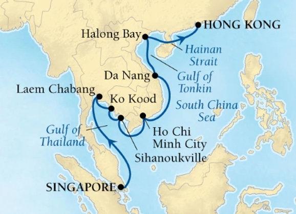 Seabourn Ovation * Jan 18,-2019 * Singapore to Hong Kong * 14 Nights