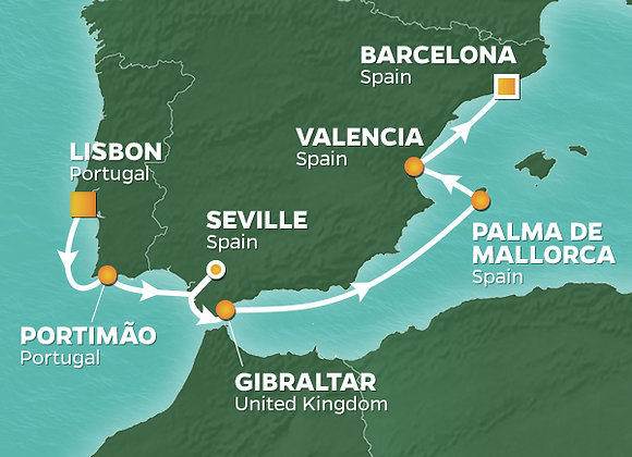 Azamara Journey * 05-Sep-2019 * Lisbon to Barcelona * 9 Nights