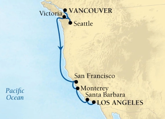 Seabourn Sojourn * Oct-08-2019 * Vancouver to Los Angeles (San Pedro) * 8 Nights