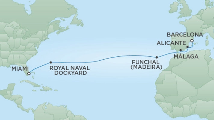 Seven Seas Explorer * Apr 3,-2020 * Miami to Barcelona * 14 nights