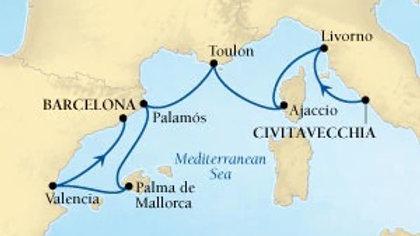 Seabourn Odyssey * Oct-12-2019 * Rome (Civitavecchia) to Barcelona * 7 nights