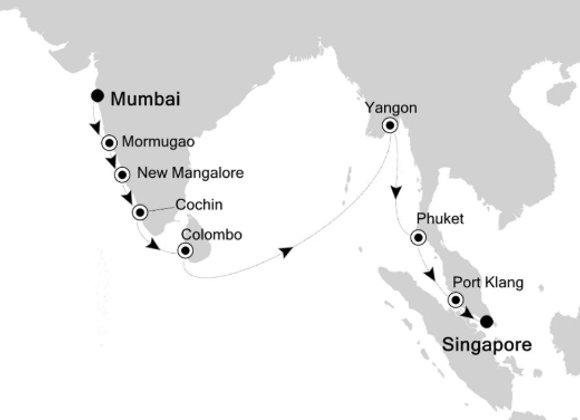 Silver Spirit * Nov-19-2019 * Bombay (Mumbai) to Singapore * 18 Nights