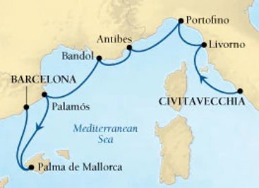 Seabourn Encore * Aug-22-2019 * Rome (Civitavecchia) to Barcelona * 7 Nights