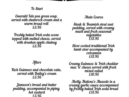 St. Patrick's Menu from Friday 15th