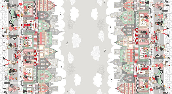 Pamper by Makower Fabrics - M2317-1 Double Border Print