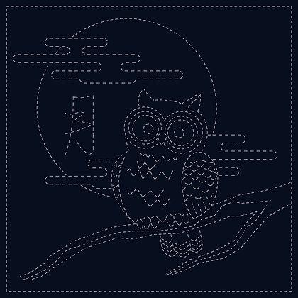 Sashiko Cloth - Owl SC0017-08-Navy