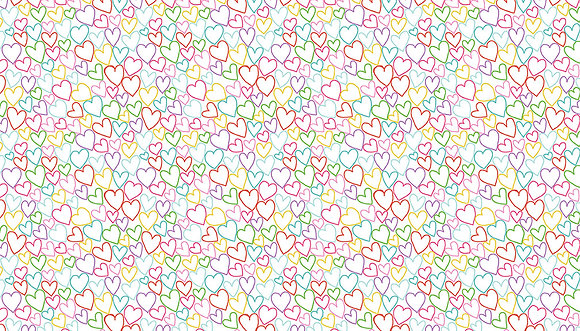 Daydream by Makower UK - M2279 White Hearts