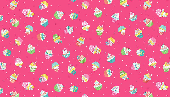 Daydream by Makower UK - M2277 Pink Cupcakes