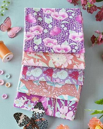 Tilda Gardenlife Collection - Fat Quarter Bundle Lilac / Coral