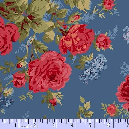 Red, Blue and Roses Too by Marcus Fabrics R14-8393-0510