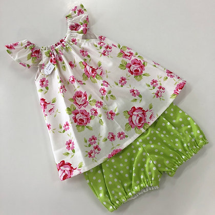 Cherry Roses Flutter Sleeve and Bubble Shorts Set