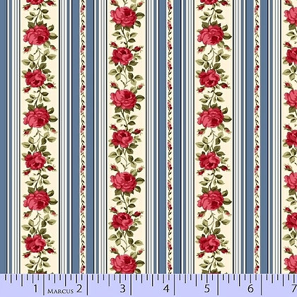 Red, Blue and Roses Too by Marcus Fabrics R14-8394-0510