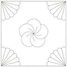 Sashiko Cloth - Chrysanthemum Y005