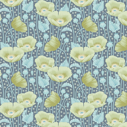 Tilda Gardenlife Collection -100312 Poppies Grey Green