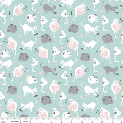 Riley Blake Fabric - Purrfect Day - C9901.Aqua