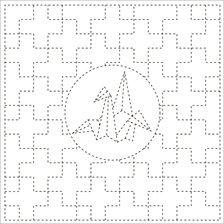 Sashiko Cloth - Cross with Crane- Y0008
