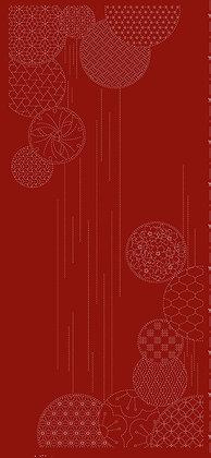 Sashiko Panel -Waterfall Red HF1116-3RD