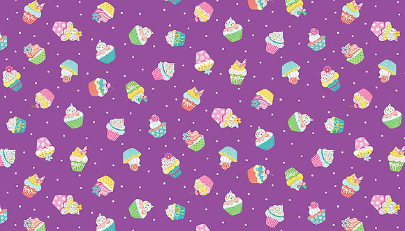 Daydream by Makower UK - M2277 Lilac Cupcakes