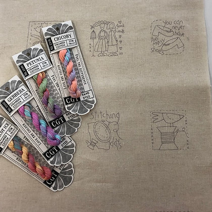 Heartstrings Linen Stitchery Panel and Cottage Garden Threads Pack