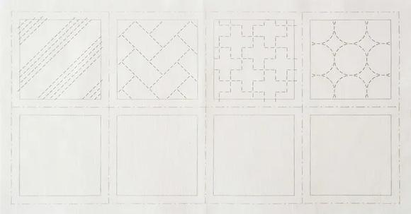 Hidamari Sashiko Cotton Pre Printed Panel LC98901