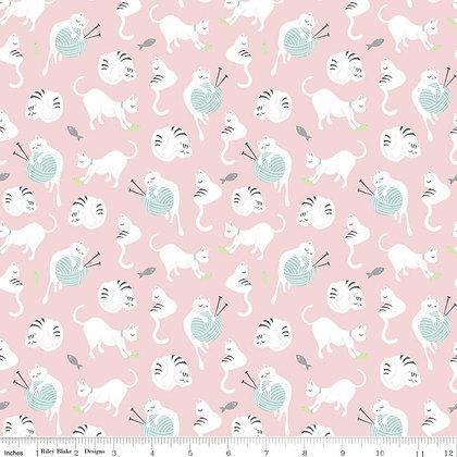 Riley Blake Fabric - Purrfect Day - C9901.Pink