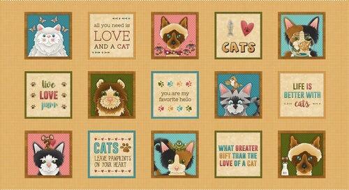 Live Love Meow Cat Blocks Panel 1937P-33