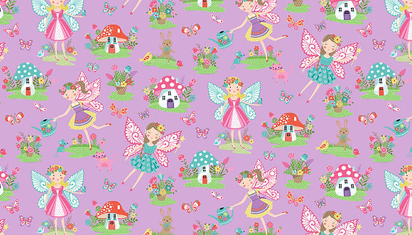 Daydream by Makower UK - M2276 Lilac Fairies