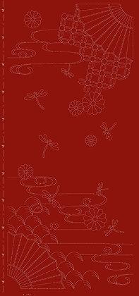 Sashiko Panel -Autumn Sky Red HF1116-33RD