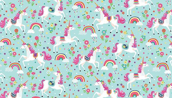 Daydream by Makower UK - M2275 Teal Unicorns