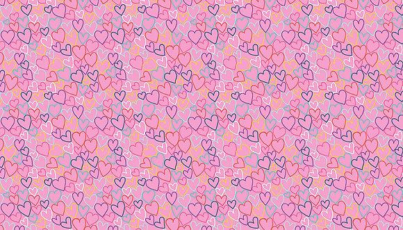 Daydream by Makower UK - M2279 Pink Hearts