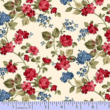Red, Blue and Roses Too by Marcus Fabrics R14-8401-0511