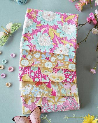Tilda Gardenlife Collection - Fat Quarter Bundle Mustard / Pink