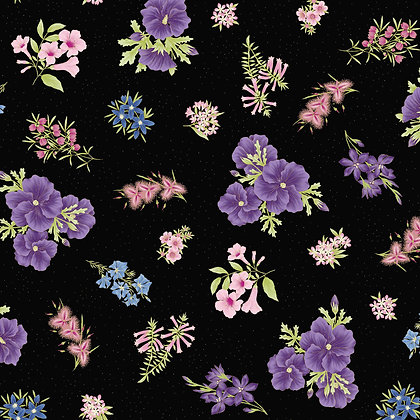 Under Australian Sun Floral Purple Black 0017-20