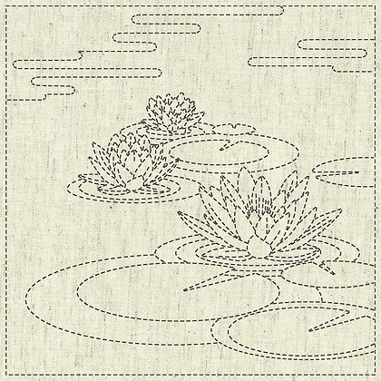 Sashiko Cloth - Water Lily -KF2020-17