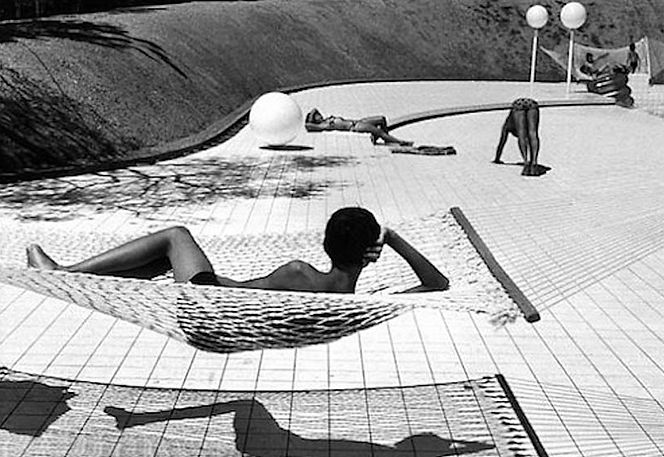 Photo by Martine Frank, Swimming Pool designed by Alain Capeilleres, France, 1976