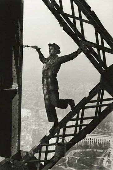 Photo by Marc Riboud, Painter on the Eiffel Tower, Paris, 1953