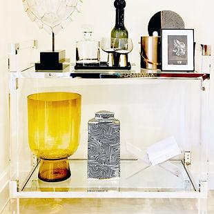Interior stylign bar cart interior accessories glasses