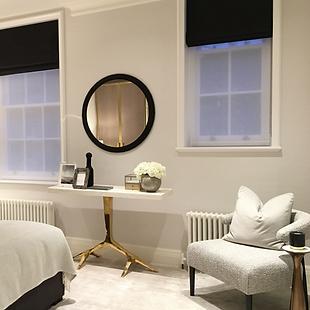 windows, mirror, console, armchair bedroom