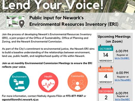 Help Shape Newark's Environmental Resources Inventory