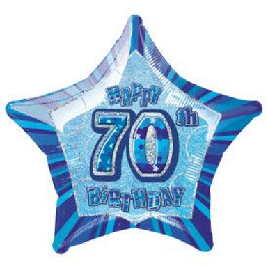 "Balloon Foil 18"" Happy Birthday 70 Blue"