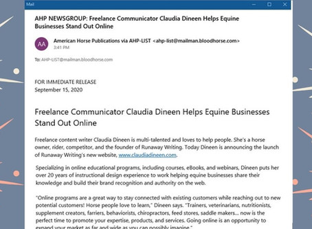 Freelance Communicator Claudia Dineen Helps Equine Businesses Stand Out Online