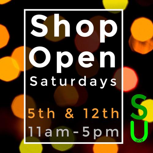 UCDSU Shop open Saturday 5th & 12th December 2020