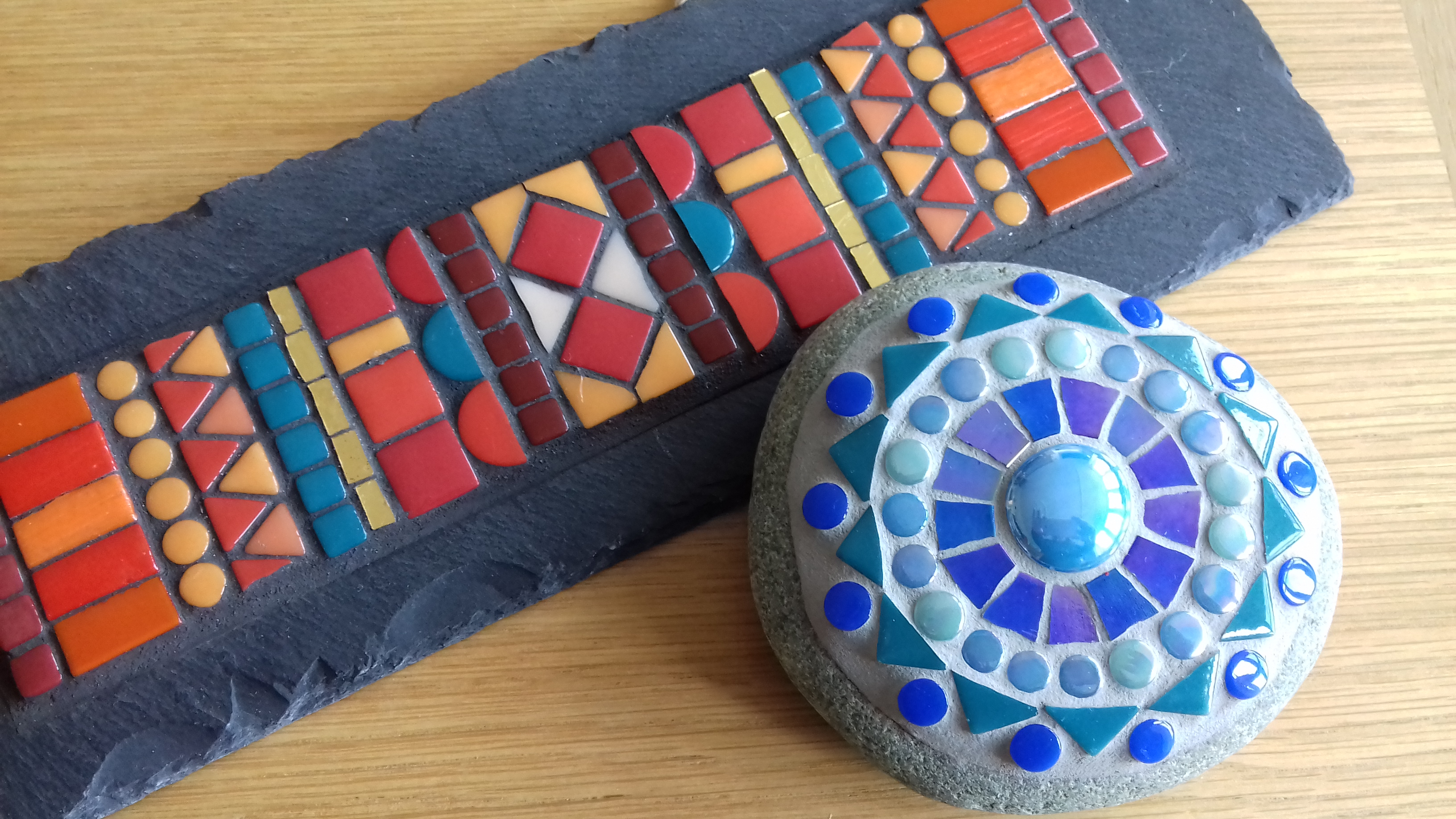 Mosaic on slate and stone
