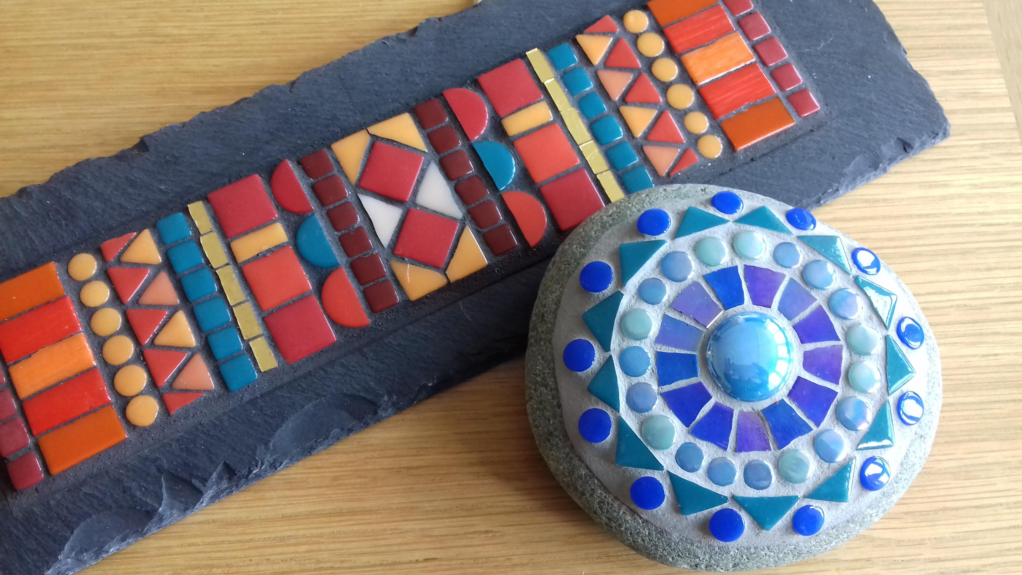 Mosaic on slate and stone