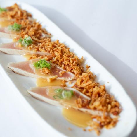 Albacore crispy onions sashimi