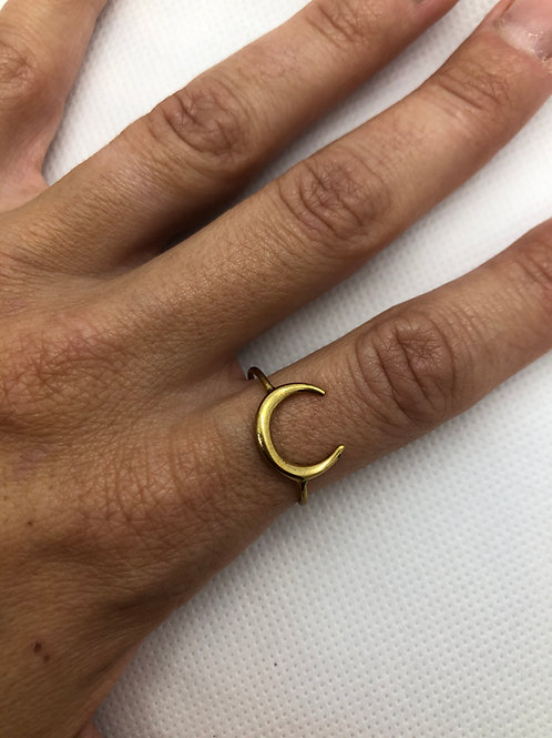 Brass Moon Ring