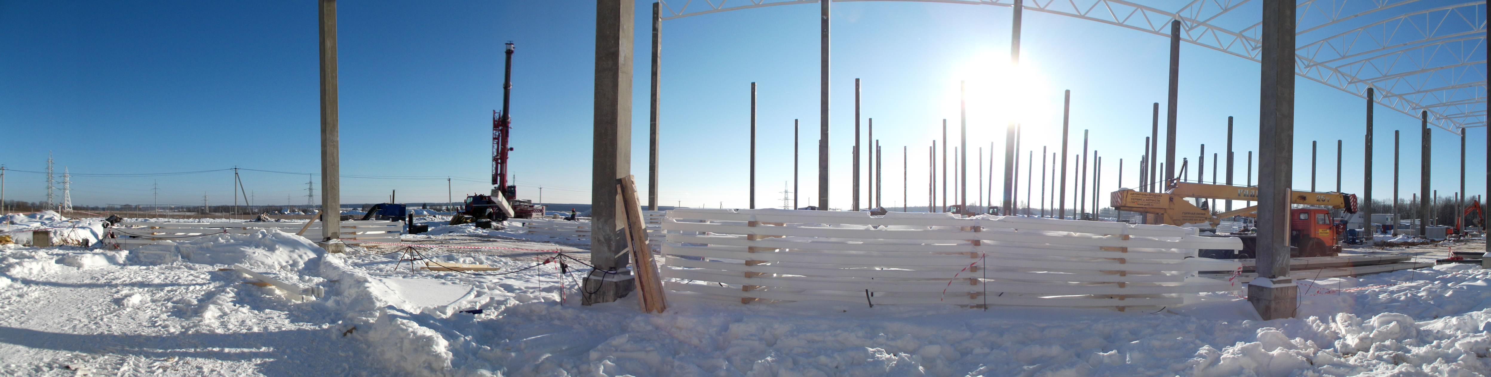 Контроль вертикальности колонн...