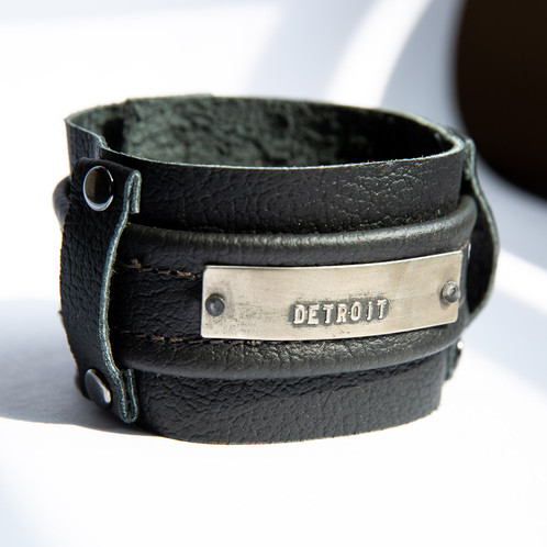 DASH by Lilacpop Leather Cuff Bracelet With Stamped DETROIT